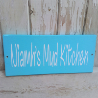 Personalised Wooden Outside Plaque - Heart Font